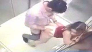 Empresario flagrado fodendo loira novinha no elevador da empresa